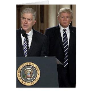 Cartão Justiça Neil Gorsuch com presidente Donald Trump