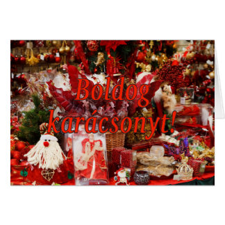 Cartão Karácsonyt de Boldog! Feliz Natal no rf húngaro