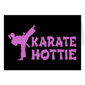 Cartão Karaté Hottie - rosa marcial fêmea do artista