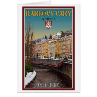 Cartão Karlovy varia - o inverno do rio de Semnice