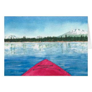 Cartão Kayaking em uma aguarela do lago cascade
