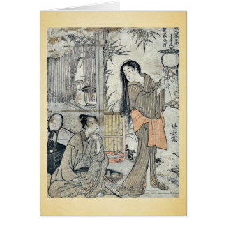 Cartão Kesa Gozen do período de Heian por Torii, Kiyonaga