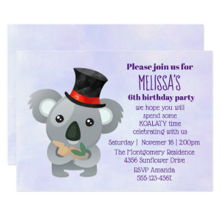 Cartão Koala bonito em uma festa de aniversário preta do