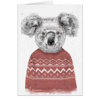 Cartão Koala do inverno (vermelho)