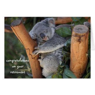 Cartão Koala do sono, parabéns da aposentadoria, bonitos