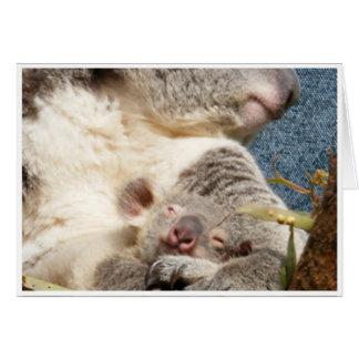 Cartão koala e bebê