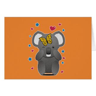 Cartão Koala e borboleta