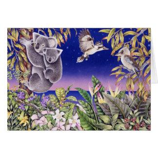 Cartão koalas e kookaburras