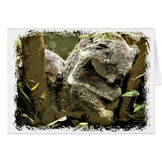Cartão Koalas sonolentos
