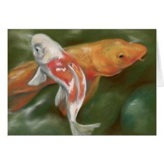 Cartão Koi alaranjado e branco com arte Mossy do Pastel