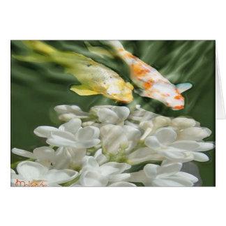 """Cartão """"Koi com flores brancas """""""
