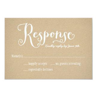 Cartão | Kraft Brown da resposta do casamento Convite 8.89 X 12.7cm