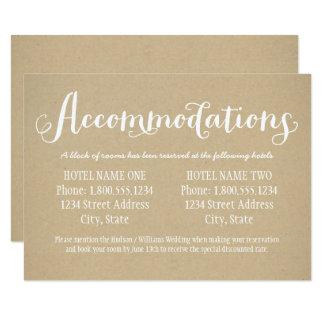 Cartão | Kraft Brown do alojamento em hotel
