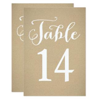 Cartão | Kraft Brown do número da mesa