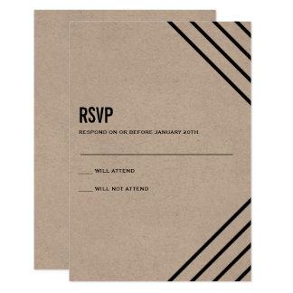Cartão Kraft preto RSVP Wedding moderno geométrico