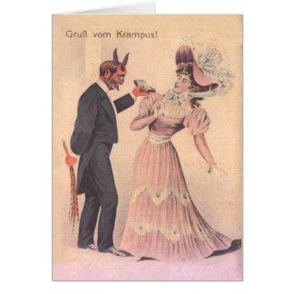 Cartão Krampus que propor à mulher