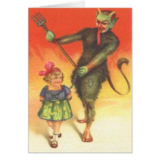 Cartão Krampus que pune a criança