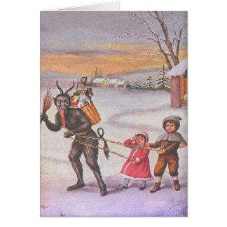 Cartão Krampus que rouba brinquedos & crianças