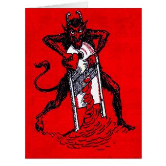 Cartão Krampus vermelho que corta o Heartbreaker do