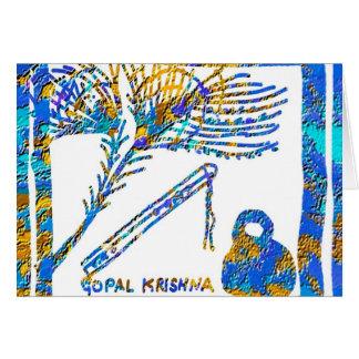 Cartão Krishna - flauta, soro de leite coalhado da pena n