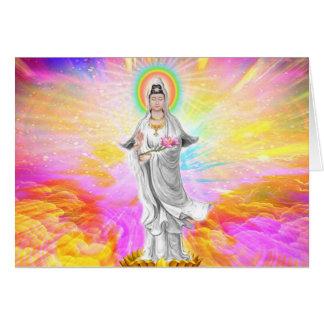 Cartão Kwan Yin a deusa da piedade com rosa