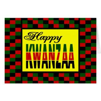 Cartão Kwanzaa feliz com beira vermelha, preta, e verde