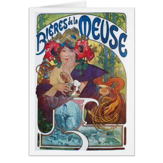 Cartão La Meuse de Bieres de, Mucha