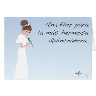 Cartão La Quinceañera de Una Flor para