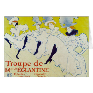 Cartão la troup de mlle poster elegante 1895 por Lautrec