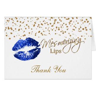 Cartão Lábios azuis do brilho no branco