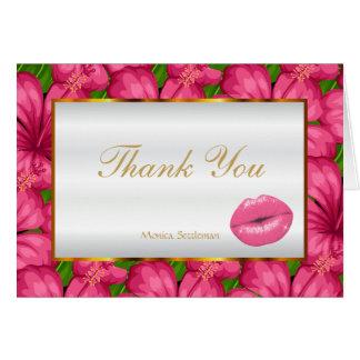 Cartão Lábios cor-de-rosa do maquilhador em floral