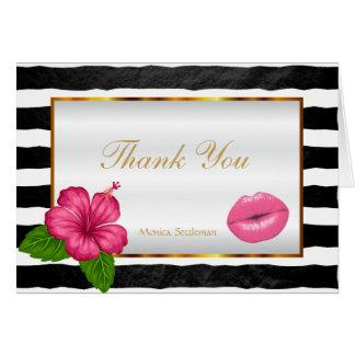 Cartão Lábios cor-de-rosa do maquilhador em listras