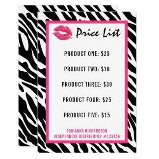 Cartão Lábios do beijo da zebra da tabela de preços do