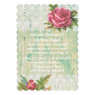 Cartão Laço branco da rosa vermelha chique elegante do