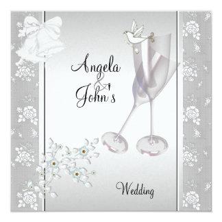 Cartão Laço branco de prata elegante Wedding floral
