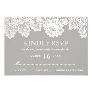 Cartão Laço branco RSVP Wedding rústico cinzento