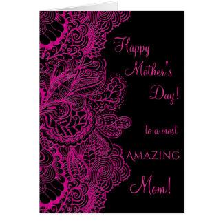 Cartão Laço cor-de-rosa elegante do dia das mães feliz no