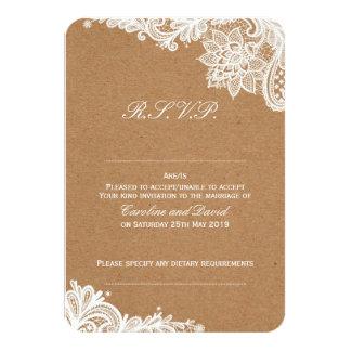 Cartão Laço de Kraft que Wedding RSVP