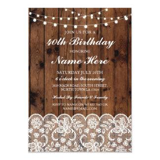 Cartão Laço de madeira rústico da festa de aniversário