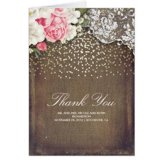 Cartão Laço e flores rústicos dos confetes do ouro de