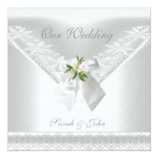 Cartão Laço floral Wedding do arco branco branco do