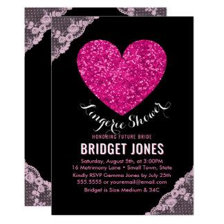 Cartão Laço nupcial do coração do rosa do partido do chá