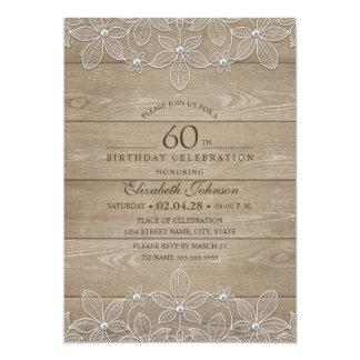 Cartão laço original de madeira rústico da 60th festa de