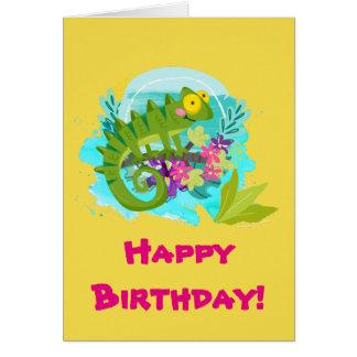 Cartão Lagarto tropical verde com aniversário das flores