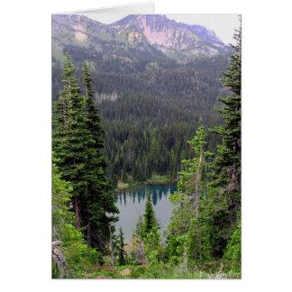 Cartão Lago sunrise, o Monte Rainier