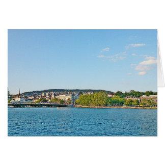 Cartão Lago Zurique, vista à ponte de Bellewue