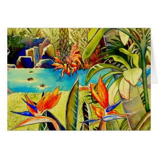 Cartão Lagoa da plantação do abacaxi de Oahu