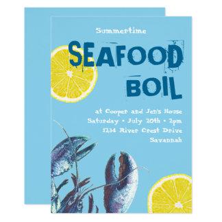 Cartão Lagosta e limão azuis da fervura do marisco