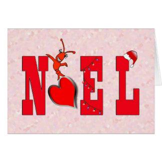 Cartão Lagostins bonitos do coração de Noel/cartão da