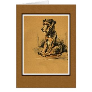 Cartão Lakeland Terrier, cão que senta-se acima